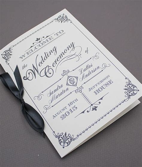diy ornate vintage wedding program booklet template add