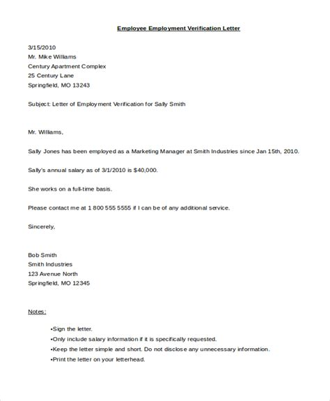 Proof Of Employment Letter From Hr Sle Employee Verification Letter 8 Free Documents In Pdf Doc