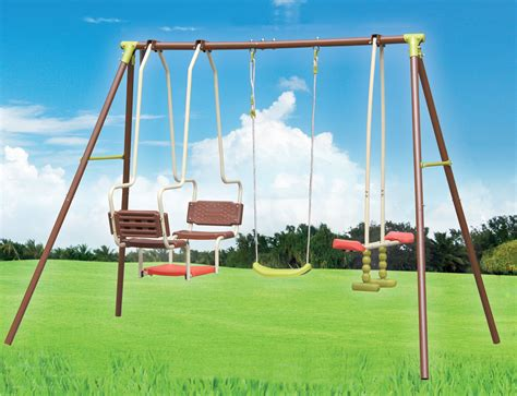 swing set 3 outdoor garden swing seesaw glider set fun leisure gondola