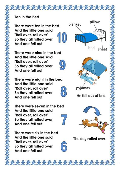 counting song counting song ten in the bed worksheet free esl