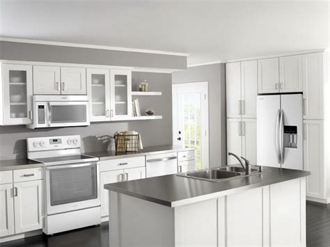 Kitchen With White Cabinets And White Appliances Home Kitchen Cabinets In White