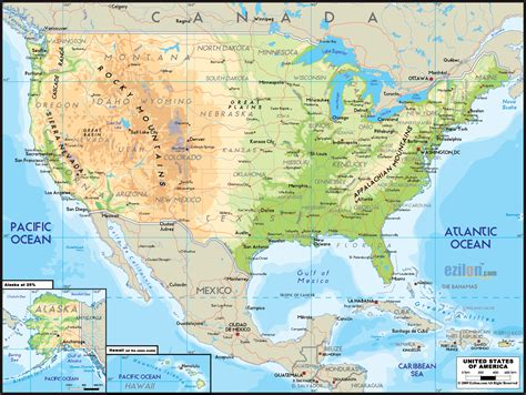 map of america physical united states physical map