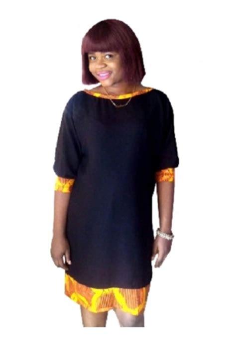 plain and pattern daviva styles naij com black chiffon with ankara border maternity dress