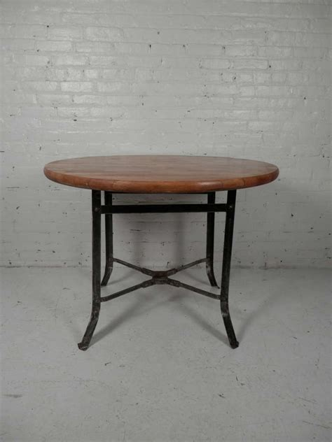 Block Dining Table Butcher Block Dining Table W Industrial Metal Base At 1stdibs