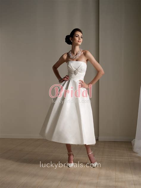 informal tea length strapless a line wedding dress with