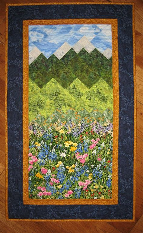 Mountain Landscape Quilt Fabric Summer Flowers And Mountains Quilt Fabric Wall Hanging