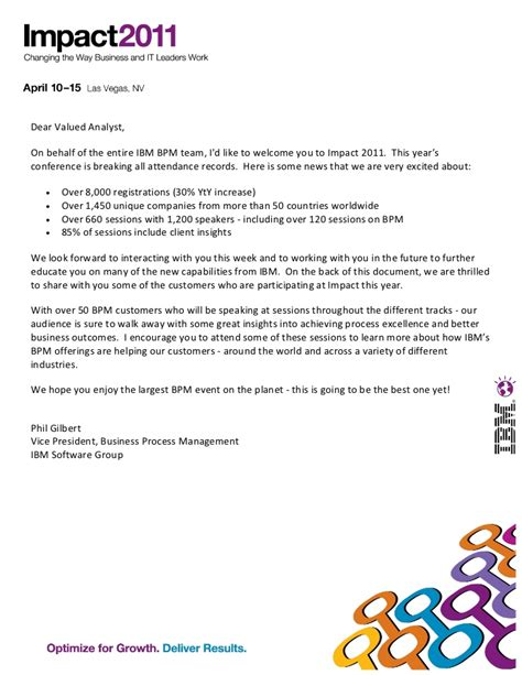 Customer Performance Letter Welcome Letter From Phil Gilbert With List Of Bpm Customer Speakers