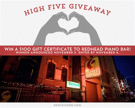 Piano Giveaway - win a 100 gift certificate to redhead piano bar xex hair gallery chicago loop hair