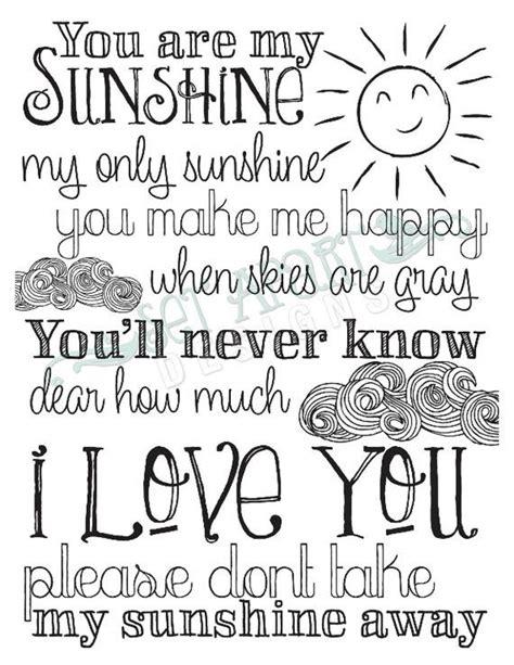 printable lyrics you are my sunshine you are my sunshine print to the moon back because you