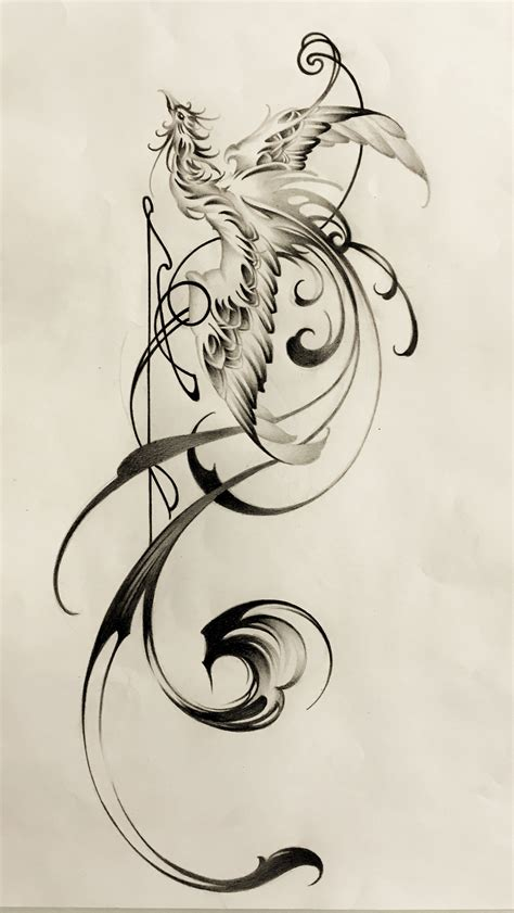 stylized tattoo designs with brushstrokes design 鳳凰 刺青 sumi