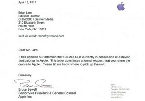 apple chiede la restituzione formale dell iphone a gizmodo