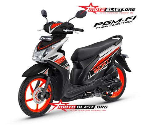 Alarm Buat Motor Beat modif decal design honda beat fi black orange ceria motoblast