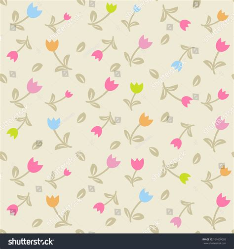 pattern cute pastel cute seamless floral pattern tulips on stock vector