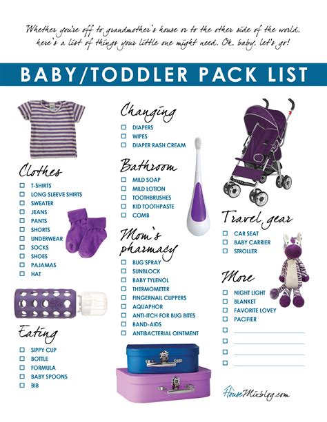 printable toddler packing list 6 best images of printable baby items newborn baby needs