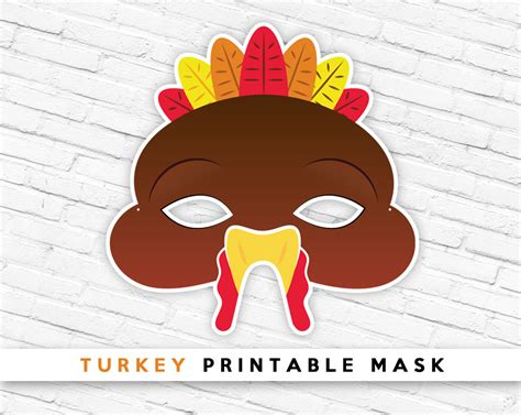 printable turkey face mask masks clipart turkey pencil and in color masks clipart