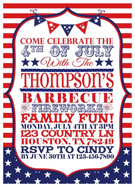 4th of july invitation templates 6 best images of 4th of july printable invitations july