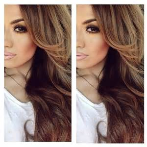 Chocolate brown hair with caramel and honey highlights accentuated