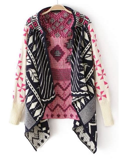 pink pattern cardigan pink long sleeve tribal pattern asymmetrical cardigan