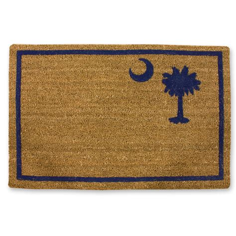 palmetto tree and crescent moon outdoor straw mat