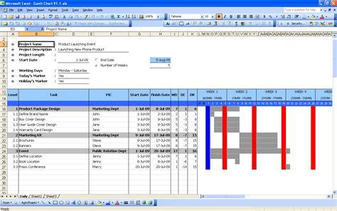 excel project gantt chart template free productivity archives excel templates