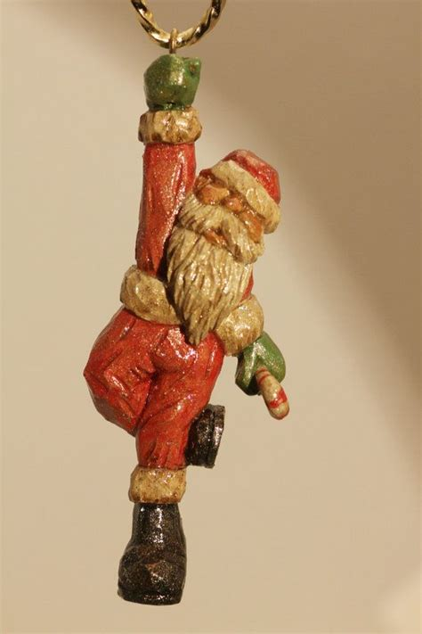 carved wooden ornaments carved wooden santa ornament