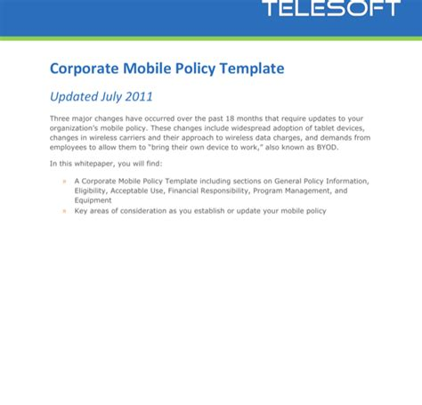 mobile phone policy template company cell phone policy template for free