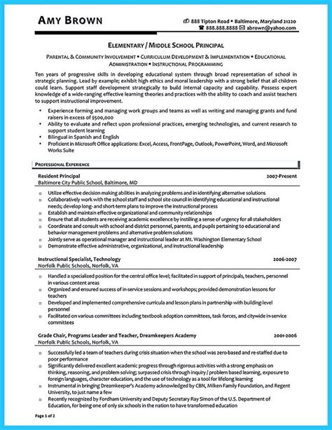 Sle Assistant Principal Resume by 17 Best Ideas About Sle Of Resume On Exle Of Resume Sle Of Cover Letter