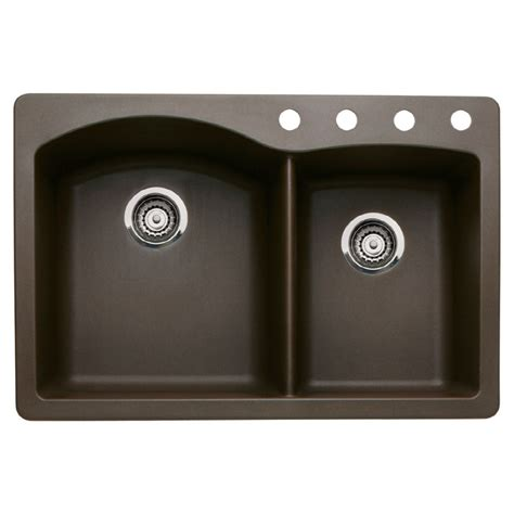 Shop Blanco Diamond 22 In X 33 In Cafe Brown Double Basin Blanco Granite Kitchen Sinks