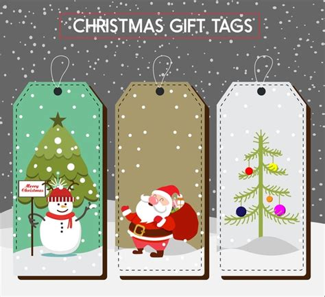christmas gift tags collection colored symbols design free