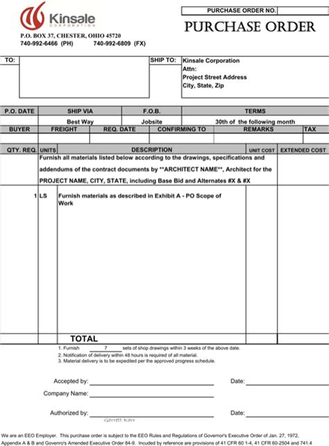 purchase order template templates forms pinterest