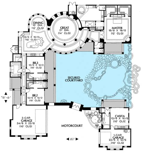 Newest House Plans by Plan W16312md Courtyard Plan With Guest Casita E