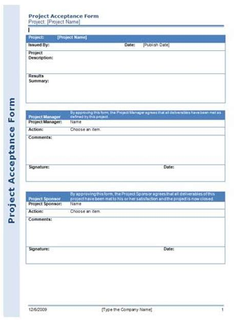 project acceptance form for managing your project
