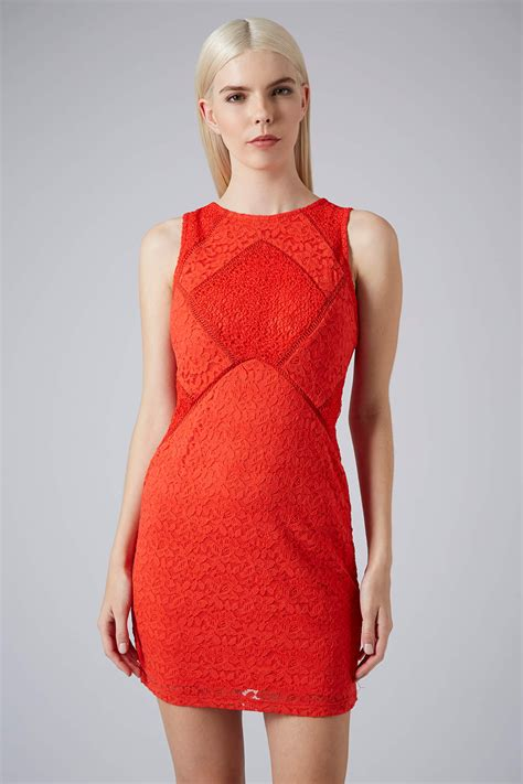 Top Shoo lyst topshop lace mix bodycon dress in