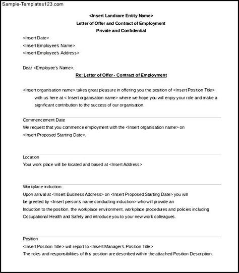 Exle Letter Of Offer And Employment Contract Letter Of Offer And Contract Of Employment Template Sle Templates
