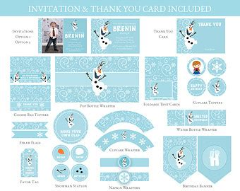 printable mini thank you cards frozen birthday printable set olaf birthday party