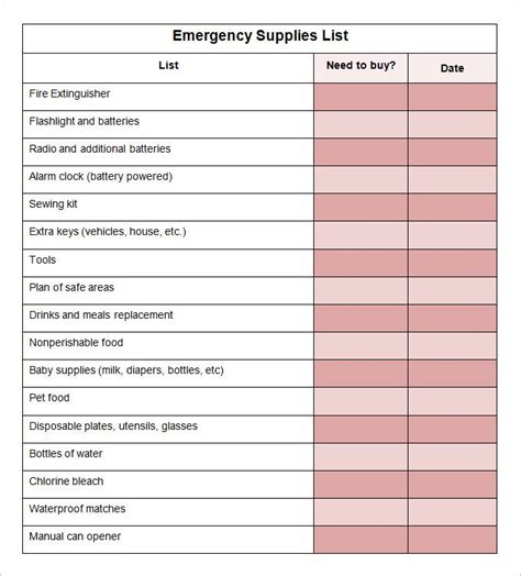 printable office supply shopping list 17 best images about emergency survival on pinterest