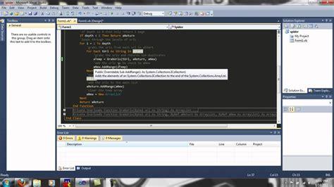 tutorial web crawler php vb net web crawler spider source code walkthrough youtube