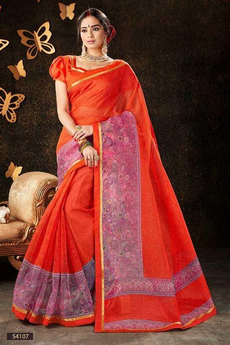 orange daily wear cotton printed summer special sadi