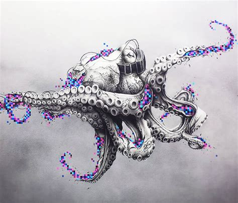 octopus rift pencil drawing by pez art no 2324