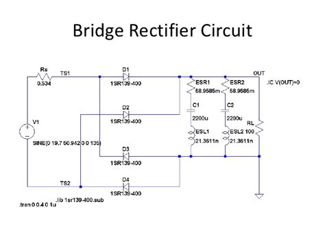 diode bridge rectifier bridge diode simulation using ltspice