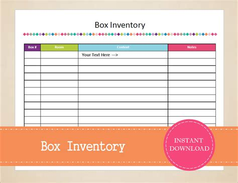 Box Inventory Packing Planner Moving Planner Inventory Moving Box Inventory Template