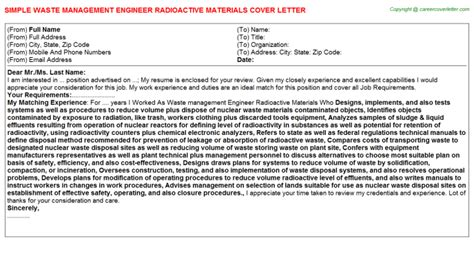 Materials Engineer Cover Letter by Waste Management Engineer Radioactive Materials Cover Letter Sle