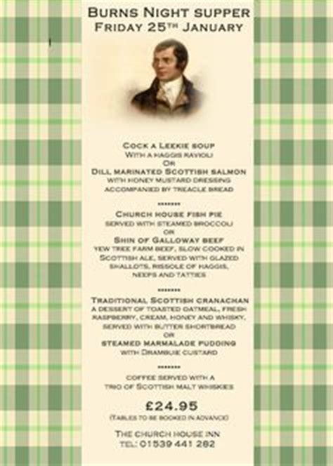 burns menu template table arrangement for robbie burns supper rabbie burns