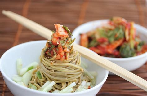 cold noodle salad recipes cold kim chi cucumber soba noodle salad recipe jeanette