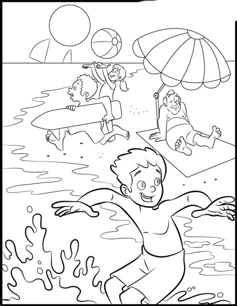 summer coloring pages activity village dibujos de playa paisajes de la costa para colorear