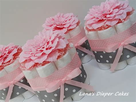 girl baby shower table decorations four gray and pink flowers mini diaper cake baby shower