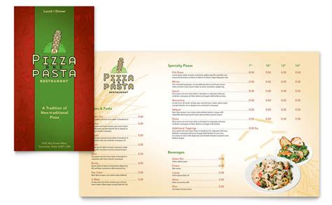 italian pasta restaurant take out brochure template design