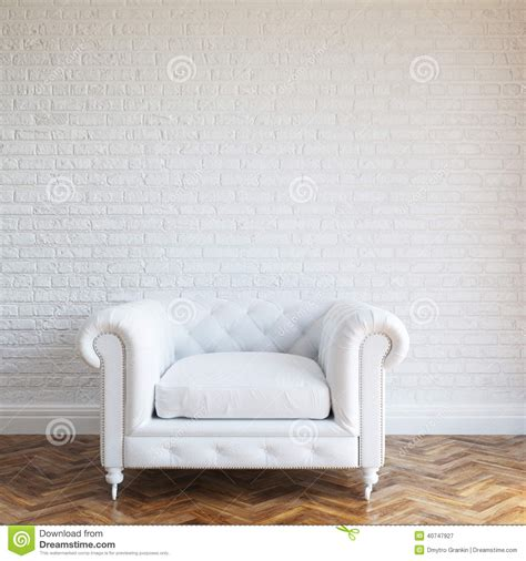 Retro Wood Paneling White Walls Brick Interior With Classic Leather Armchair