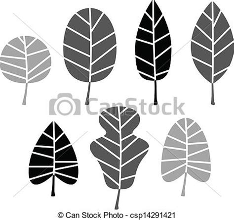 Simple Listy Black And White vector illustration of black leaves silhouette set