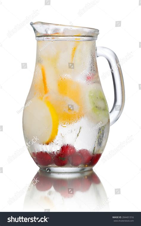 Detox Water With Frozen Fruit by Glass Pitcher Detox Water Enriched Stock Photo